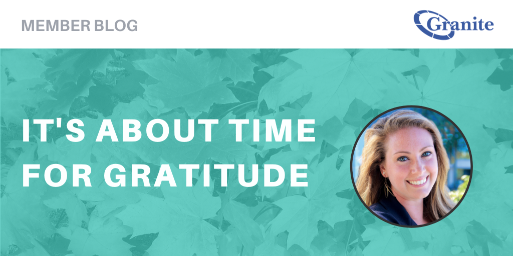 It's About Time for Gratitude Blog Banner